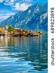 chapel in hallstatt old town... | Shutterstock . vector #689823898