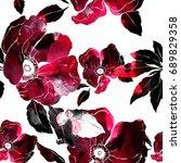 imprints blooming wild rose... | Shutterstock . vector #689829358