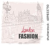 hand drawn view of the london's ... | Shutterstock .eps vector #689833750