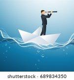 a businessman looks through a... | Shutterstock .eps vector #689834350