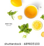 creative layout made of cup of... | Shutterstock . vector #689835103
