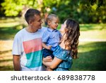 family mother father and his... | Shutterstock . vector #689838778