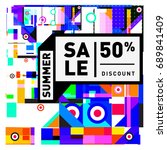 summer sale colorful style... | Shutterstock .eps vector #689841409