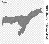 high quality map of assam is a... | Shutterstock .eps vector #689841889