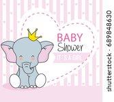 baby shower girl. cute elephant ... | Shutterstock .eps vector #689848630