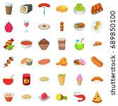 delicious dish icons set.... | Shutterstock .eps vector #689850100