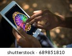 colorful wheel of fortune on... | Shutterstock . vector #689851810