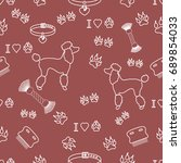 seamless pattern with poodle... | Shutterstock .eps vector #689854033