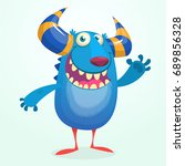 angry cartoon monster.... | Shutterstock .eps vector #689856328