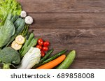 fresh organic vegetables on... | Shutterstock . vector #689858008