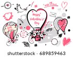 set of image balloon for happy... | Shutterstock . vector #689859463