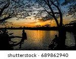 sunset water landscape | Shutterstock . vector #689862940