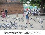 chaing mai tha phae gate... | Shutterstock . vector #689867140