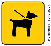 dogs on leash sign yellow.... | Shutterstock .eps vector #689868334