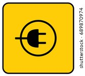 charging station sign yellow.... | Shutterstock .eps vector #689870974