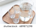 glass decanter with water and... | Shutterstock . vector #689871298