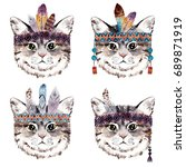 Stock photo watercolor cat portrait with boho feathers bohemian cute animal hand drawn illustration isolated 689871919