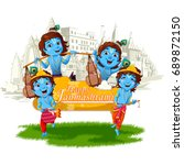 lord krishna indian god... | Shutterstock .eps vector #689872150