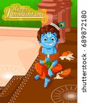 lord krishna indian god... | Shutterstock .eps vector #689872180