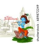 lord krishna indian god... | Shutterstock .eps vector #689872249