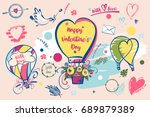 set of image balloon for happy... | Shutterstock . vector #689879389