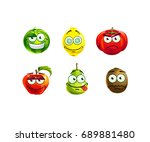 set of cute and funny fruits... | Shutterstock .eps vector #689881480