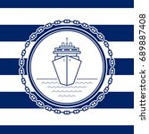 sea emblem on a striped marine... | Shutterstock . vector #689887408