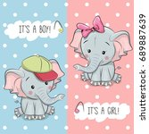 Stock vector baby shower greeting card with elephants boy and girl 689887639