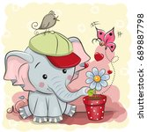 greeting card cute cartoon... | Shutterstock .eps vector #689887798