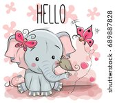 Greeting Card Cute Cartoon...
