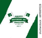 celebrating pakistan... | Shutterstock .eps vector #689889028