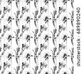 monochrome floral wallpaper... | Shutterstock . vector #689890240