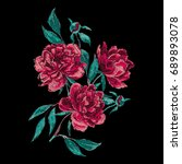 vector embroidery with peonies. ... | Shutterstock .eps vector #689893078