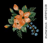 vector embroidery with  floral... | Shutterstock .eps vector #689893108