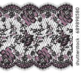 seamless vector pink and black... | Shutterstock .eps vector #689898580