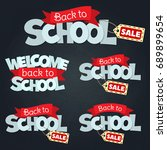 blackboard with greeting  first ... | Shutterstock . vector #689899654