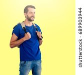Small photo of Man with backpack against white background against yellow background