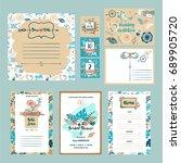 set of wedding accessories ... | Shutterstock . vector #689905720