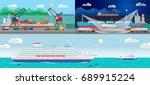 vector flat ocean cruise liner... | Shutterstock .eps vector #689915224