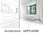 mixed sketch of a bathtub in... | Shutterstock . vector #689916088