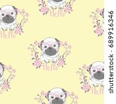 bulldog pattern  vector ... | Shutterstock .eps vector #689916346