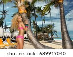 sexy blonde hair model with... | Shutterstock . vector #689919040