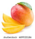 mango fruit and mango slices.... | Shutterstock . vector #689920186