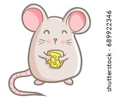 funny and cute mouse standing... | Shutterstock .eps vector #689922346