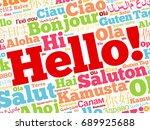 hello word cloud in different... | Shutterstock .eps vector #689925688