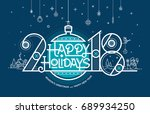 happy new year card 2018 ... | Shutterstock .eps vector #689934250