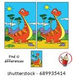 funny red dinosaur. find 10... | Shutterstock .eps vector #689935414