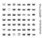 set of black vector crowns and... | Shutterstock .eps vector #689947744