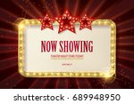 bright red marquee with light... | Shutterstock .eps vector #689948950