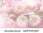 pink rose petals isolated on... | Shutterstock . vector #689949289